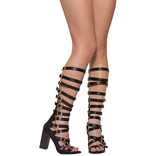 Womens High Heel Sandals Knee High Gladiators w/ Strappy Buckles Black SZ 6.5