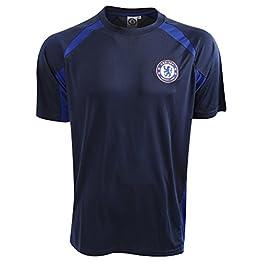 Chelsea FC - T-Shirt de Sport Officiel - Homme (S) (Bleu Marine)