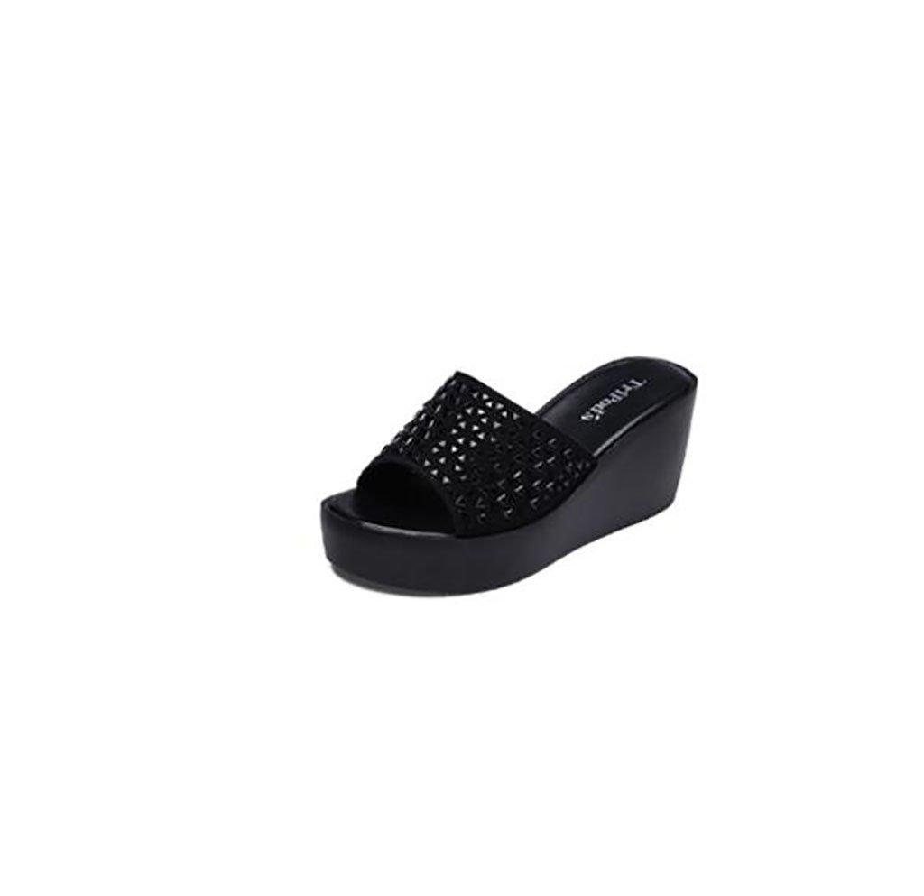 FAFZ Zapatos y sandalias femeninos de verano con cuña Sandalias planas,Sandalias de moda (Color : A, Tamaño : 34) 34|A