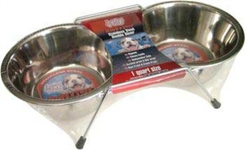 Loving Pets Double Diner Dog Bowl, 1-Pint