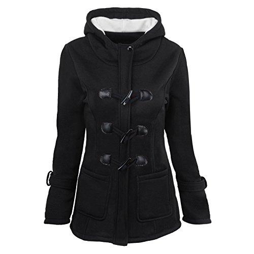 Eagsouni? Femme Manteaux  Capuche Automne et hiver Hoodie Veste Jacket Sweats  capuche Gilet Bouton pais Blouson Noir
