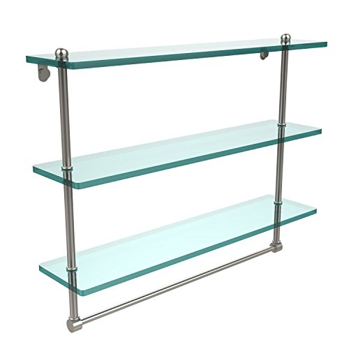 Allied Brass PR-5/16TB-PB 24 x 5 Glass Shelf Satin Chrome by Allied Brass
