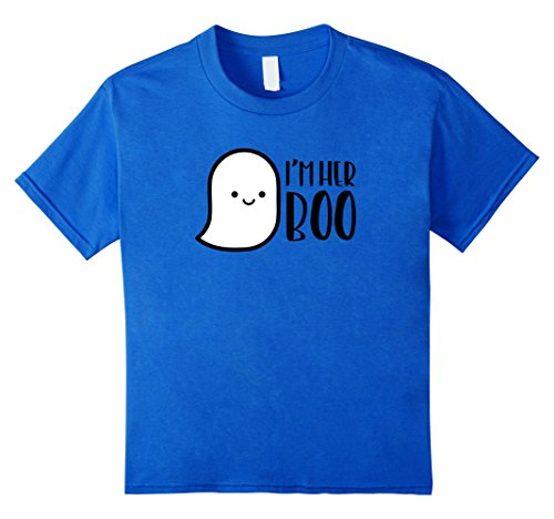 For Costumes Halloween Duo Girls Cute (Kids MATCHING SET I'm His or Her Boo Halloween Ghost Couple shirt 4 Royal)