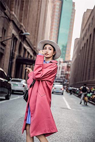 Otoño Outerwear Solapa Fashion Sólido Manga Abrigos Retro Gabardina Día Larga Largos Adelina Mujer De Rot Chaqueta Color Abrigo Elegante Casuales Primavera Transición Relaxed 0HIq1A