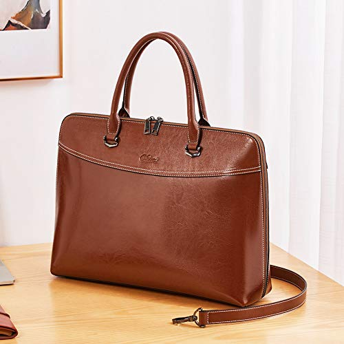 CLUCI Briefcase for Women Oil Wax Leather 15.6 Inch Laptop Business Vintage Slim Ladies Shoulder Bag Brown