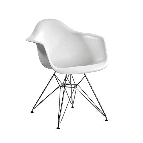 Mod Made Mid Century Modern Paris Tower Dining Arm Chair Chrome Leg, White, Set of 2 (Chairs Cheap Replica)
