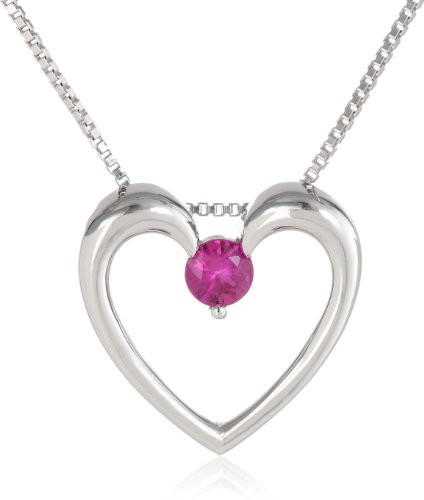 Sterling Silver Heart Pendant Necklace (1/6cttw), 18