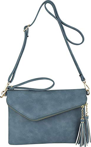 Fold-Over Envelope Wristlet Clutch Crossbody Bag with Tassel Accents (Denim Blue)