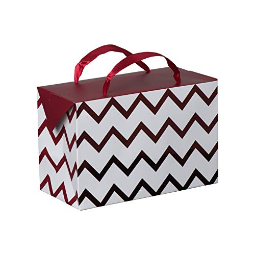 - Maroon Chevron Paper Gift Bag Box-Foldable Party Favors Treat Bags with Ribbon Handles for Baby Shower, Holiday and Birthday Parties 7