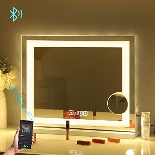 Fenair Large Vanity Mirror with Lights Bluetooth USB Charging Port – 3 Color Lighting Model Hollywood Style Makeup Mirror with LED Light Strip for Dressing Table 23 x18