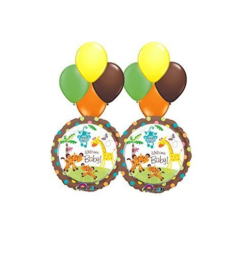 Jungle Safari Welcome Baby Shower Balloon Bouquet 10pc -
