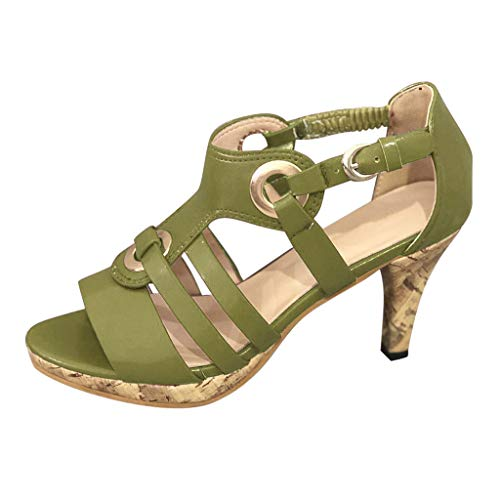 - Sunhusing Women's Solid Color Metal Buckle Elastic Band Buckle High Heels Open Toe Sandals Roman Shoes Green