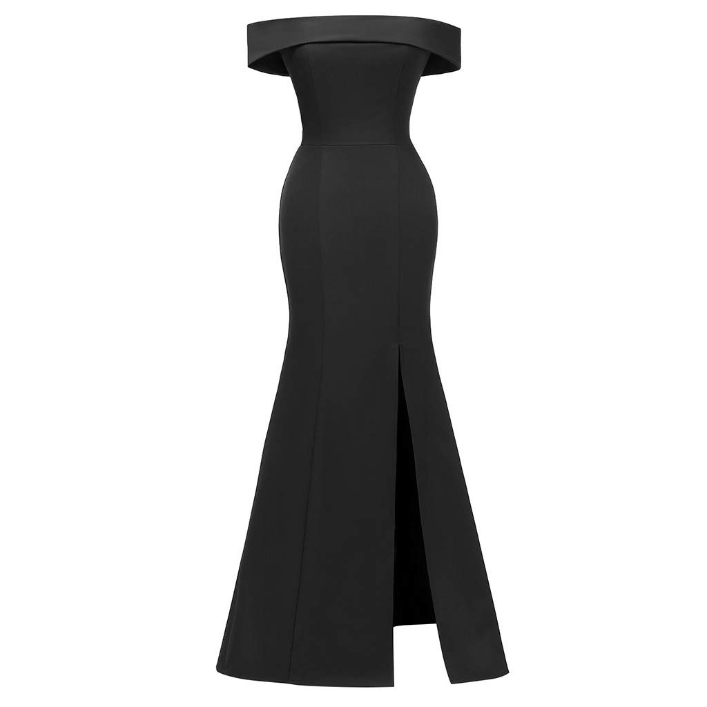 Women Off Shoulder Bodycon Maxi Dress ❤Fashion Solid Side Split Sleeveless Formal Evening Party Cocktail Long Dresses (X-Large, Black)