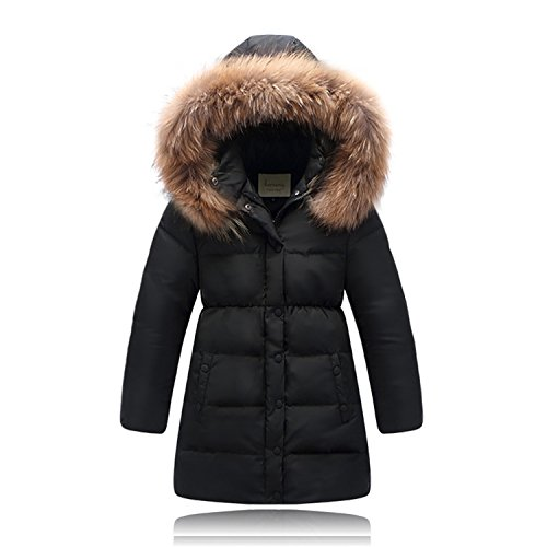 Puffer Girls Hooded Jacket (Seeduck Big Girls' Winter Parka Down Coat Puffer Jacket Padded Overcoat with Fur Hood (12T/13T=160CM=63 Inch, Black))