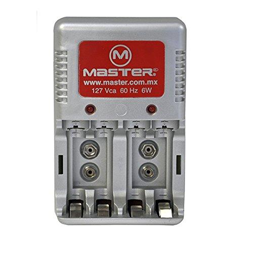 Master- Cargador de baterías AA, AAA, 9V de hasta 6 W. Cuenta con indicador de Carga 2 Bases para baterías Tipo 9 Vcc, 4...