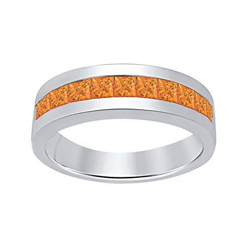 RUDRAFASHION 14K White Gold Plated Created Orange Sapphire Wedding Band Ring for Men's