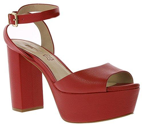 Buffalo Schuhe Echtleder High Heels Plateau Riemchen Rot Rot