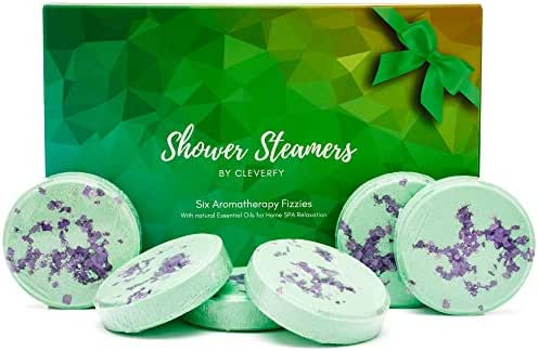 Cleverfy Shower Bombs - [6x] Menthol And Eucalyptus Shower Steamers With Essential Oils For Aromatherapy, Sinus and Stress Relief - Great Gift For Mom Or As Spa Gifts For Women