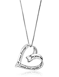 Sterling Silver A True Friend Reaches For Your Hand But Touches Your Heart Open Heart Pendant Necklace, 18""