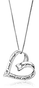 """Sterling Silver """"A True Friend Reaches For Your Hand But Touches Your Heart"""" Ribbon Heart Pendant Necklace, 18"""""""