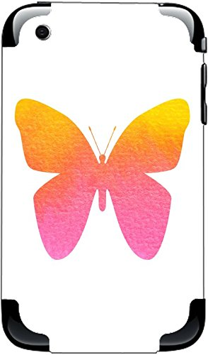 Watercolor Butterfly Yellow Orange Pink iPhone 3G&3GS Vinyl Decal Sticker Skin