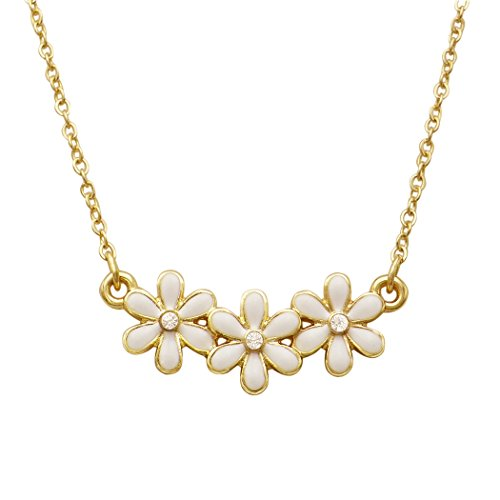 Rosemarie Collections Women's Triple Flower Charm Simple Strand Necklace (White)