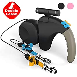 Double Retractable Dog Leash LED Flashlight 360°Tangle-Free Dual Doggie Pet Leash for Walking 2 Dogs Up to 50lbs Each,10ft Reflective Polyester Ribbon,One-Handed Brake,Pause,Lock
