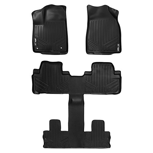 SMARTLINER Floor Mats 3 Row Liner Set Black for 2014-2018 Toyota Highlander with 2nd Row Bucket Seats (No Hybrid Models)