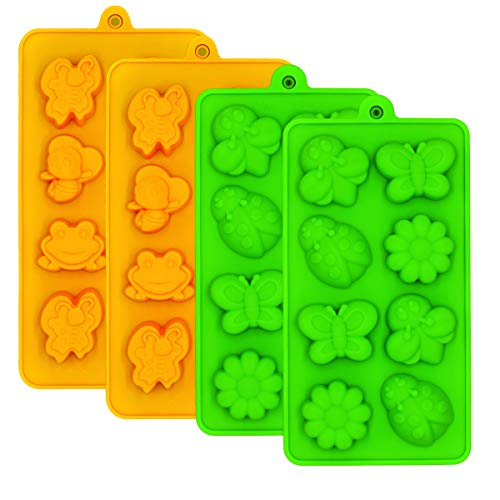 Chocolate Molds Silicone Candy Jelly Mold - WARM TIME Hard Candy Gummy Molds and Silicone Ice Cube Tray Nonstick Including Butterfly, Frog, Bee and Flower, FDA Approved Food Grade Silicone Molds]()