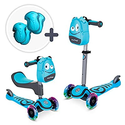 smarTrike T1-3-in-1 Toddler Scooter for Boys & Girls, Safety Gear Included, for 1, 2, 3 Years Old Kids, Blue : Sports & Outdoors