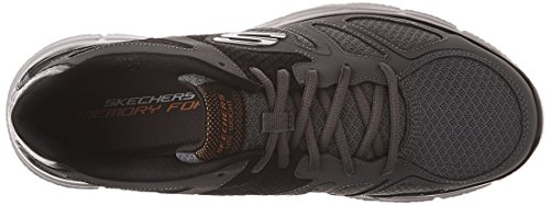 Skechers Sport Mens Soddisfazione Flash Point Oxford Charcoal / Orange
