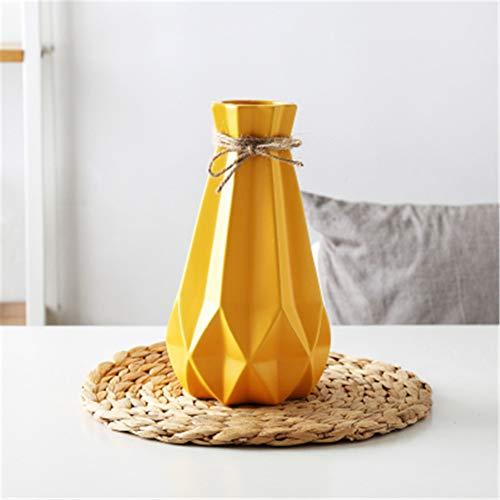 zhengjun Ceramic Flower Vase Diamond Geometric Decor, Yellow Modern Minimalist Flower Pot for Wedding Living Room Home Decoration (Yellow, Large)
