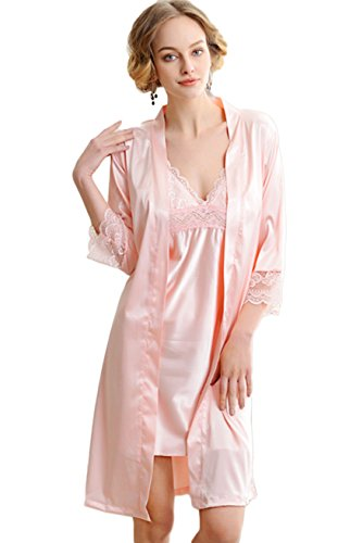 Lace Trim Nightdress (Awaye Womens Nightgown and Robe Set Sexy Pajama Elegant Satin Two Piece 3/4 Sleeve Sleepwear V Neck Lace Trim Nightdress, Pink, US S: Tag M)