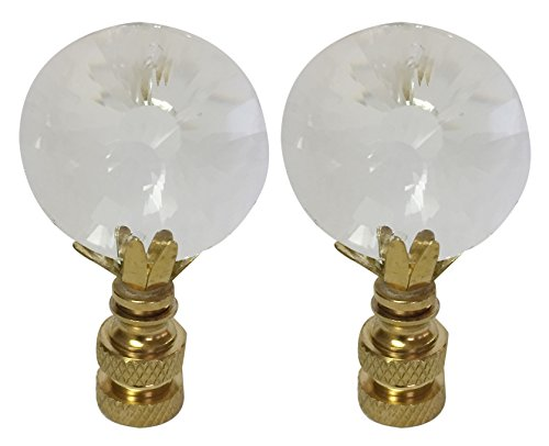 Royal Designs CCF2012-PB-2 Sun Cut Round Clear K9 Crystal Finial for Lamp Shade with Polished Brass Base Set of 2, 2 Piece