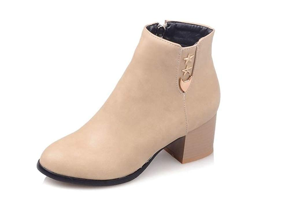 Rose town Womens Block Ankle Bootie with Low Heel Boots