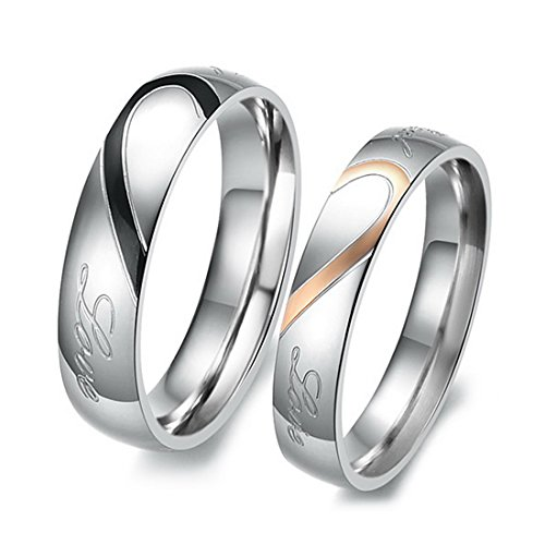 INBLUE Men,Women's Stainless Steel Band Ring Silver Tone Heart Couple Wedding Promise