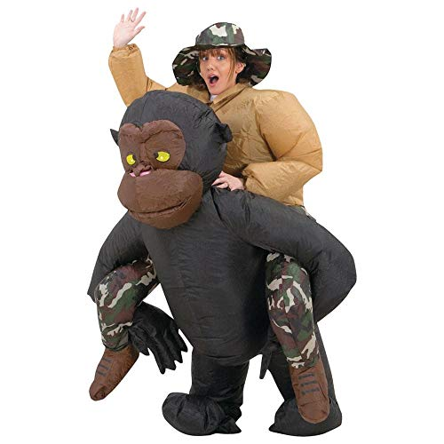 Riding Gorilla Adult Inflatable Costume Black]()