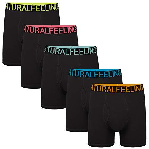 Natural Feelings Mens Underwear Boxer Briefs Men Pack of 5 Soft Cotton Open Fly Underwear (American Underwear Men)