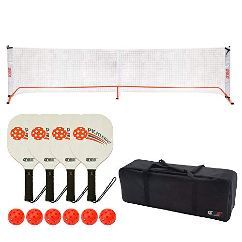 GSE Games & Sports Expert Professional Portable Pickleball Complete Set. Including Pickleball Net System, 4 Pickleball Paddles, 6 Outdoor Pickleballs (Orange)