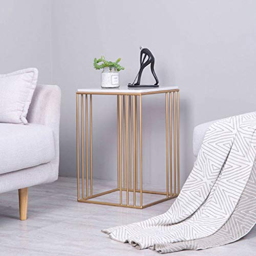 L-Life End Tables Side Table Marble Wrought Iron Linelace Small Square Side Table, Simple Leisure Living Room Bedroom Balcony Reading Table, 404060cm (Color : Golden)