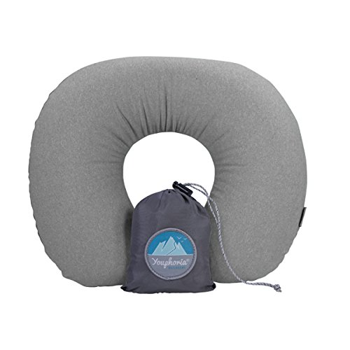 Youphoria Travel Pillow (Gray) - Soft, Easy Inflatable Neck Pillow for Airplane , Camping, Car Rides - Built In Ultra Compact Carry Case Included - Choose Your Color!