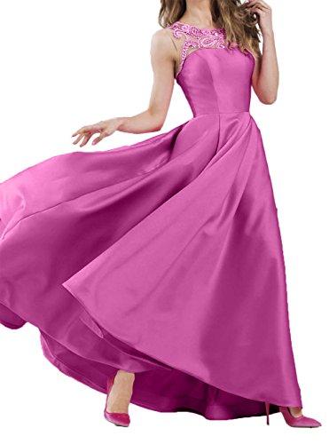 Pink Abendkleider Langes Promkleider Charmant Ballkleider Partykleider Damen Neu 2018 Satin Festlichkleider Linie A awx7xRTOq