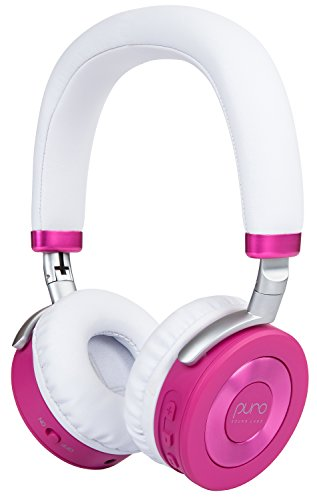 Puro Sound Labs JuniorJams On-Ear Headphones Wireless Foldable Kids Earphones with Bluetooth, Volume Limiting, Lightweight and Noise Isolation for Smartphones/PC/Tablet - JuniorJams Pink
