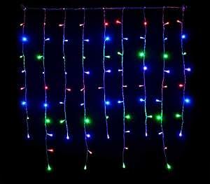 ba19ad46178 Takestop 300 LED Lluvia Nieve Luces Multicolor colores hilo blanco Árbol de  Navidad Cascada luminosa controlador 8 funciones  Amazon.es  Electrónica