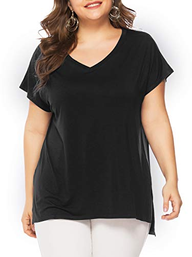 Florboom Womens Comfy Blank V Neck Split T Shirt Plus Size Tee Shirts Black 5X