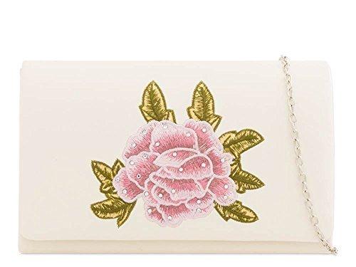 mariage à femmes Sac satin 's floral Argent pour détail main Ivoire décoration neuf haute Small DIVA pochette Diamant fête IwPOqKp
