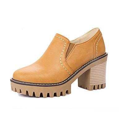 Zapatos de tacones de las mujeres Primavera Verano Otoño Invierno Comfort cuero sintético oficina y carrera Fiesta y Noche Casual tacón grueso Gore Negro Gris Amarillo Black