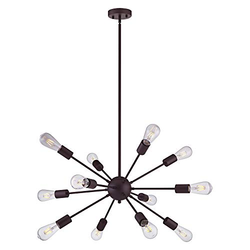 VINLUZ Sputnik Chandelier Oil Rubbed Bronze 12 Lights Modern Farmhouse Chandelier Lighting Mid Century Pendant Semi-Flush Mount Ceiling Lighting Fixture for Kitchen Dining Room Living Room - Light Bronze Incandescent Chandelier