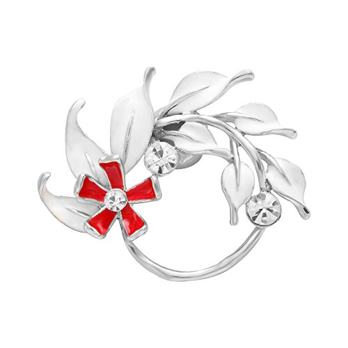 SENFAI Red Flower Branch Leaf Magnetic Eyeglass Holder Brooch 3 Tone (Silver) Glass Silver Brooch