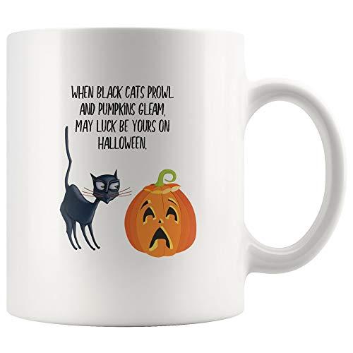 Halloween mug, coffee mug, pumpkin, black cat, vintage